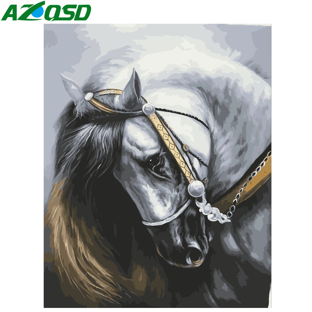 AZQSD Painting By Numbers Horse Series Handmade Gift DIY Abstract Oil Paint By Number Canvas Kits Animal Home Decor SZGD063