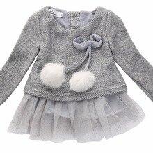 New Toddler Baby Kids Girls Clothing Dresses Spring Summer Brief Long Sleeve Knitted Bow Newborn Tutu Princess Dress 3 6 12 24M