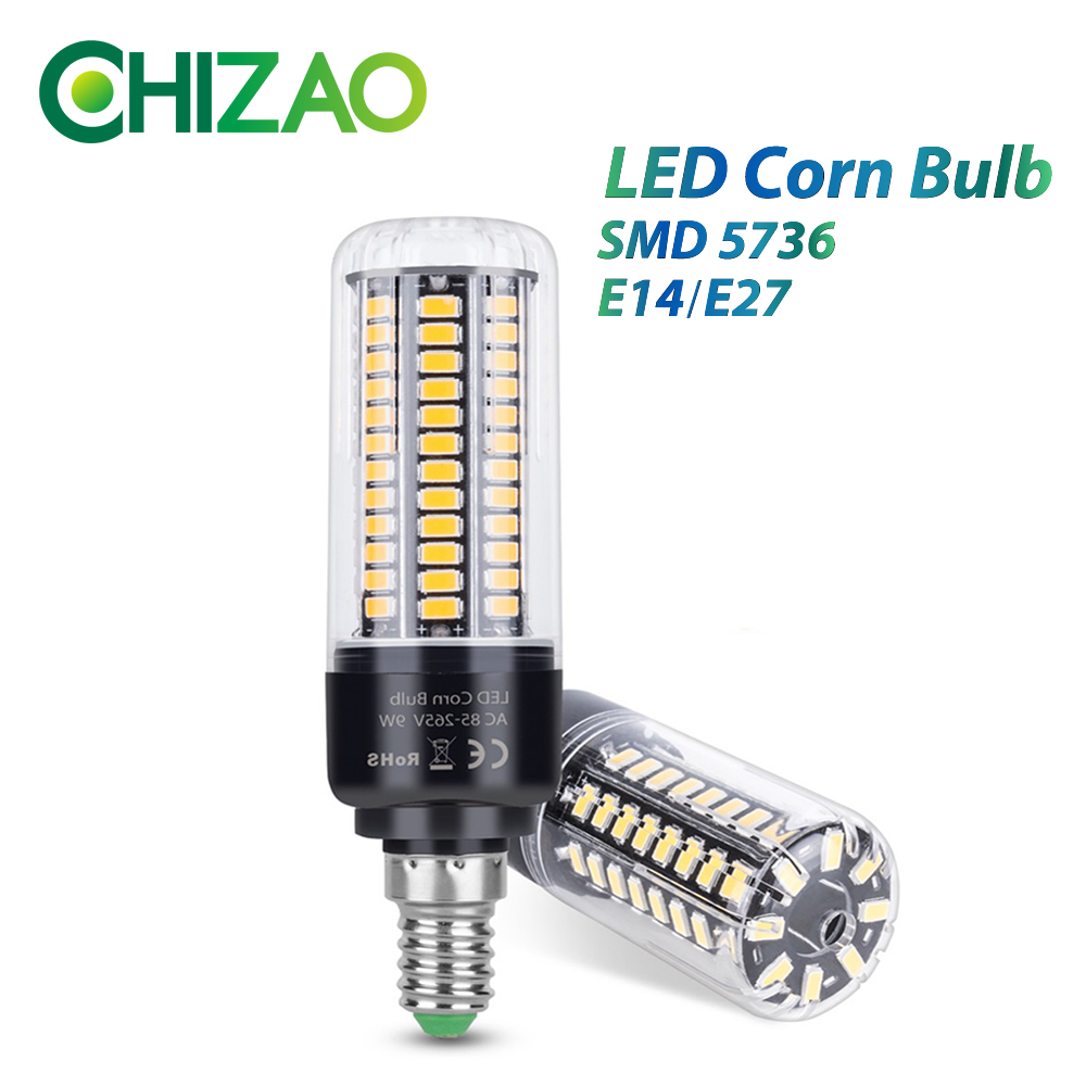 CHIZAO LED Corn Bulb E14 or E27 Base SMD-5736 High brightness Lamp 220V Chandelier Candle LED Light Warm/Pure White lighting