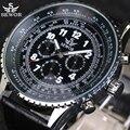 2016 Marca SEWOR Relógios Mecânicos Automáticos 6 Mãos 3 sub-marca Rotate Bezel Homens Relógio Militar Relógio Aviador Piloto relógio de pulso