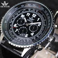 2016 SEWOR Brand Automatic Mechanical Watches 6 Hands 3 sub-dials Rotate Bezel Military Clock Men Aviator Watch Pilot wristwatch