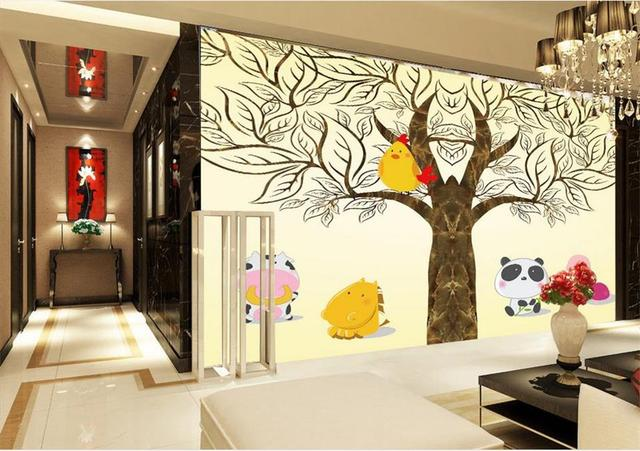 Behang Boom Kinderkamer : Custom 3d foto behang kinderkamer muurschildering grote boom kip
