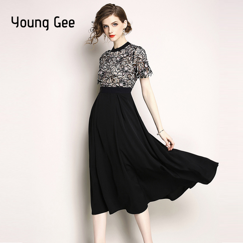 YoungGee Women Vintage Runway Dress Casual Elegant Lace Floral Embroidery Dress European High Waist A line Party Dresses vestid