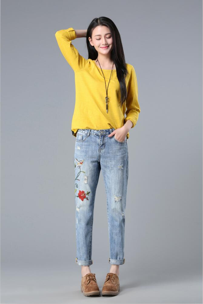 Ship from Russia Top quality 3D Floral Embroidery Denim Pants High Waist Straight Vintage Ripped Ladies Slim Jean Trousers