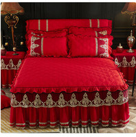 Thicker Warm Red Wedding Bedspread Fitted Sheet Pillowcases Cotton 1/3pcs Solid Princess Lace Bedding Bed skirt King Queen Size