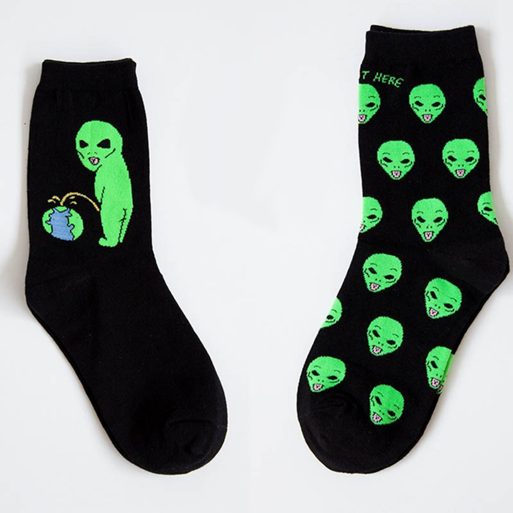 Alien Pee Print Women Men Casual Comfortable Cotton Funny Mid-calf Crew Socks