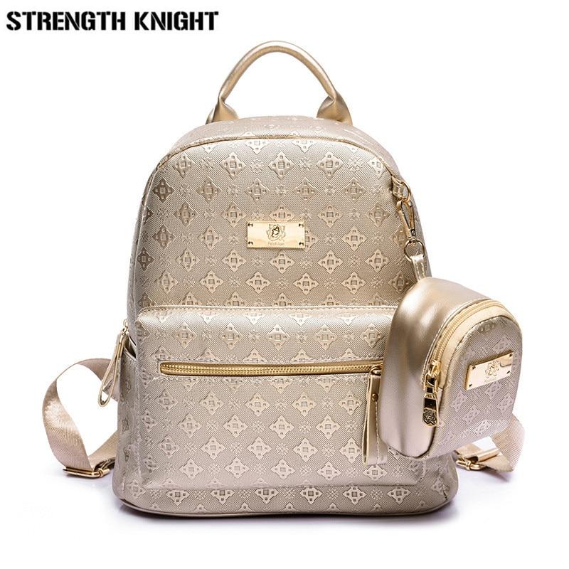 Luxury Backpack Women Bags For Teenager Girls Satchels Fashion Solid Backpacks PU Leather Bag Softback Mochila Feminina