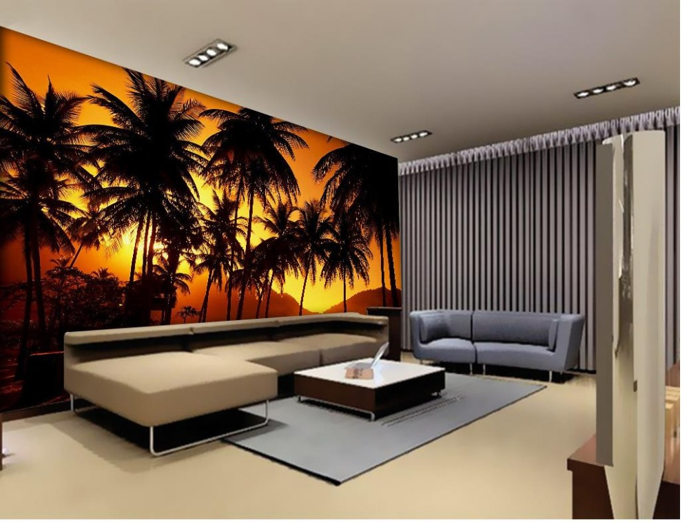 d papel pintado por habitacin atardecer mar paisaje rbol foto wallpaper d papel tapiz para paredes rollo