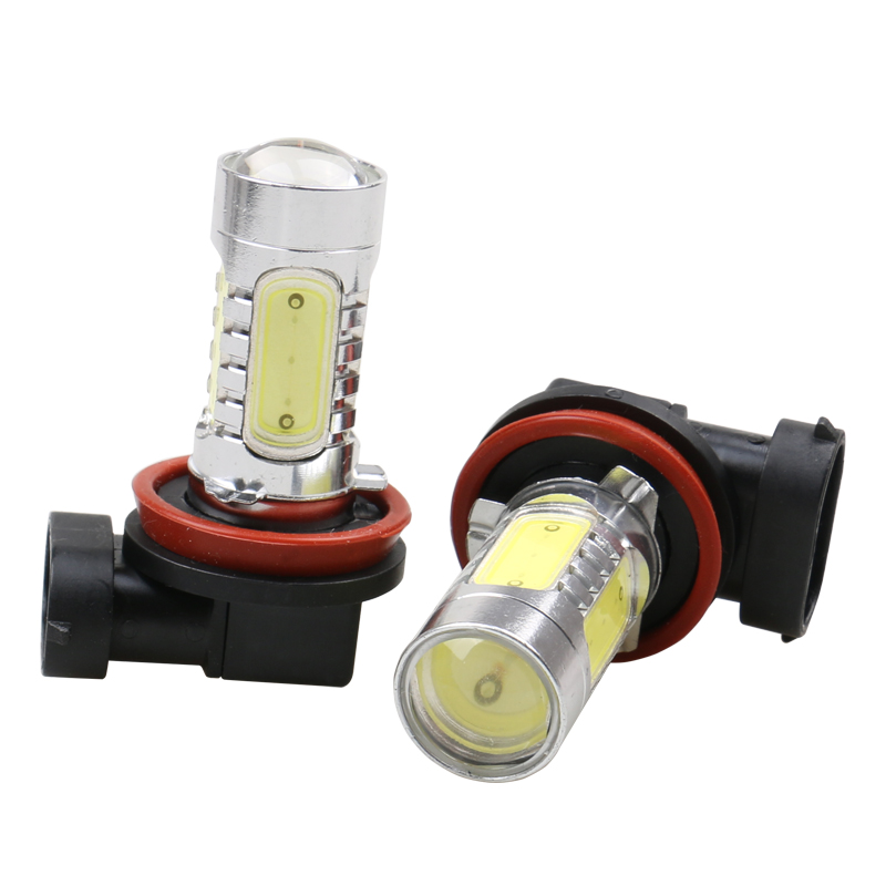 2Pcs  H8 H11 COB LED Bulb Car Auto Light Source Projector DRL Driving Fog Headlight Lamp 12V DC Car styling 2pcs set 72w 7200lm h7 cob led car headlight headlamp auto lamps led kit 6000k headlight bulb light car headlight fog light