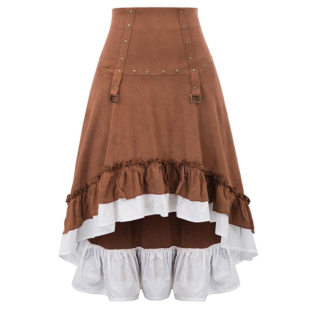 Винтажная юбка, Ретро Клубная одежда, вечерние, стимпанк, викторианский стиль, рок, шпильки, с рюшами, необычная, высокая низкая, на шнуровке, длинная юбка для женщин, faldas