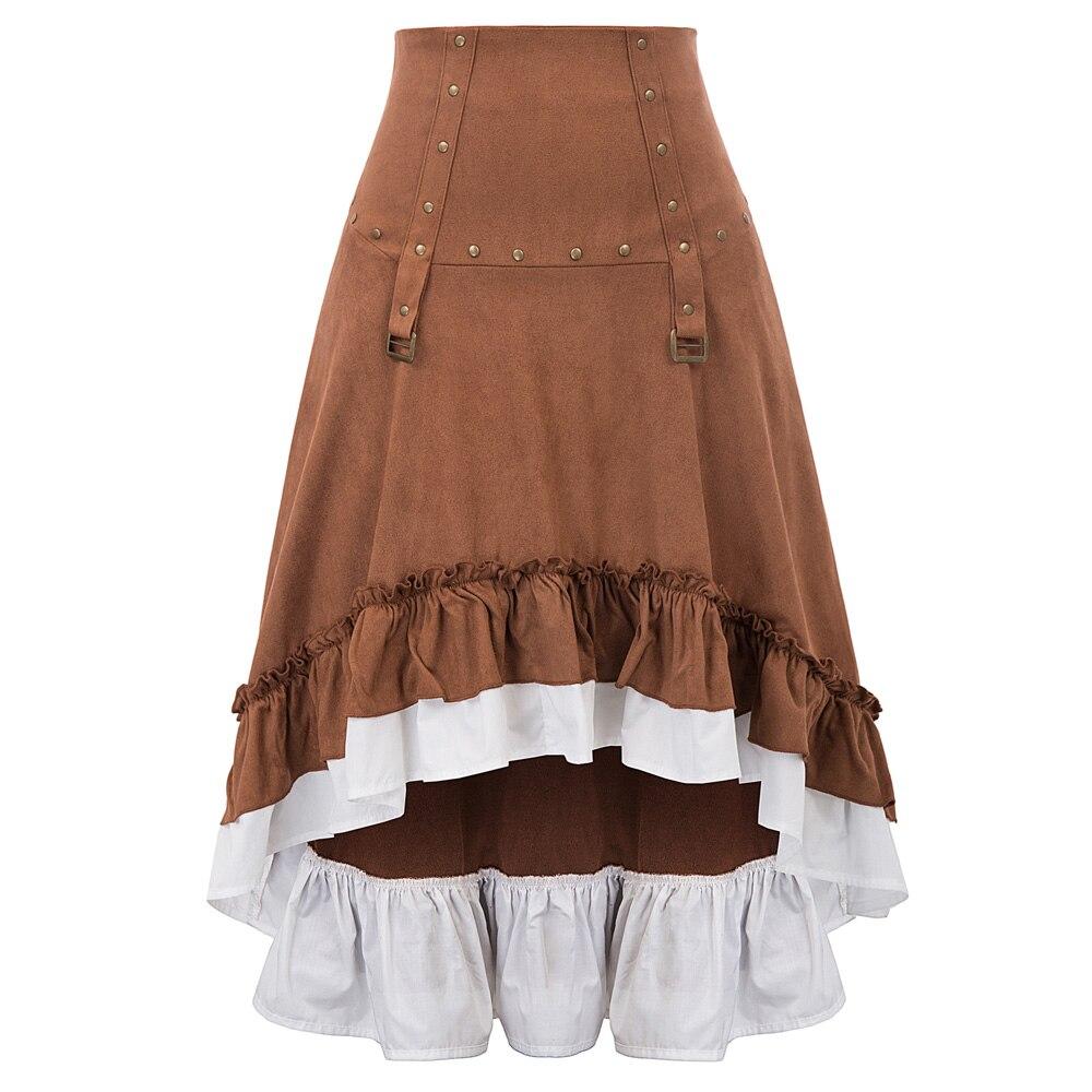 Vintage jupe rétro tenue de club party Steampunk victorien rock clous ébouriffés irrégulière haut-bas à lacets longue jupe femmes faldas