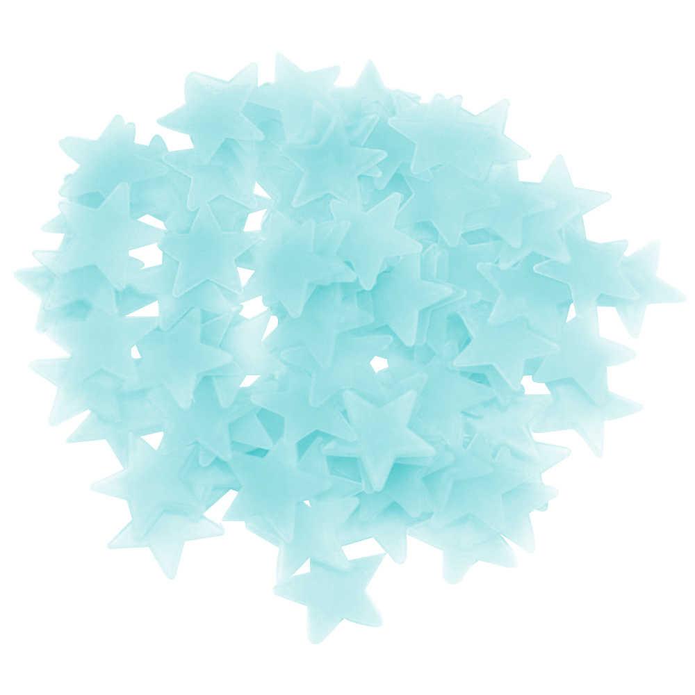 Pegatinas de pared luminosas fluorescentes 3D 50 Uds estrellas que brillan en la oscuridad pegatinas de pared luminosas fluorescentes para niños habitación de bebé dormitorio decoración del techo del hogar