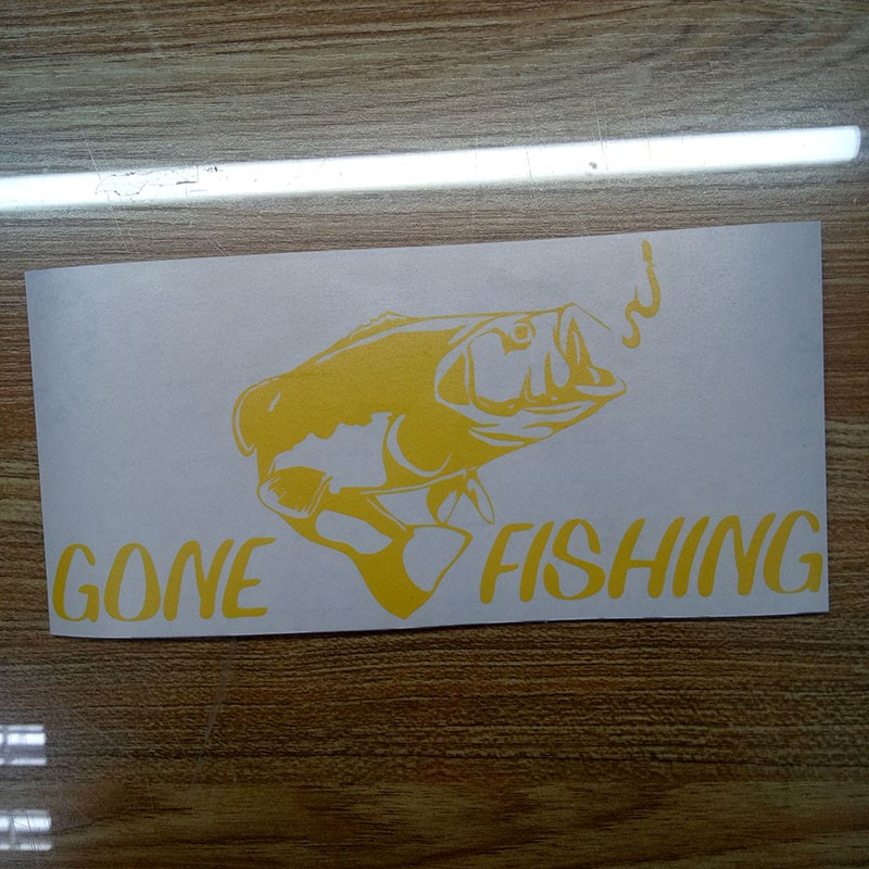Gone fishing bass cool decal fish car truck boat bumper window sticker in Car Stickers from Automobiles Motorcycles