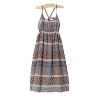 3 To 16 Years Kids Teenager Big Girls Summer Bohemian Style Geometric Print Sleeveless Beach Casual