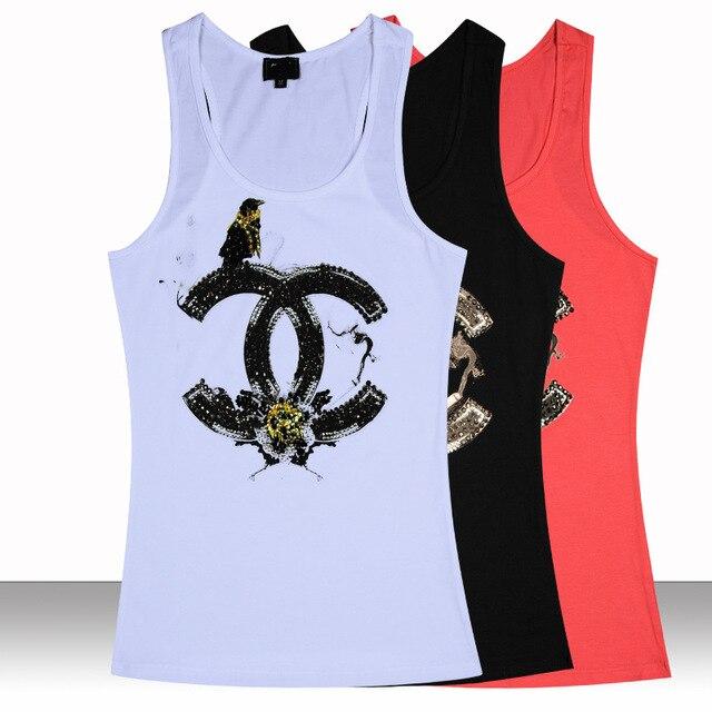71a04c73968b0 Brand New Design Women Graphic Tank Tops Paris Fashion Design 100% Quality  Cotton Sequined Sport Casual Ladies Slim Sexy Tanks