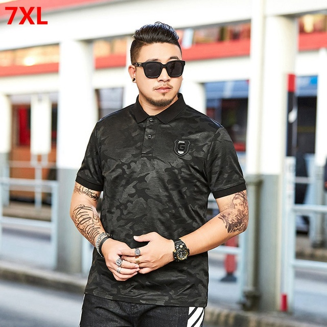 Tamanho grande Lapela preto camuflagem polo-shirt verão half-manga curta-mangas compridas lapela maré marca POLO ocasional camisa