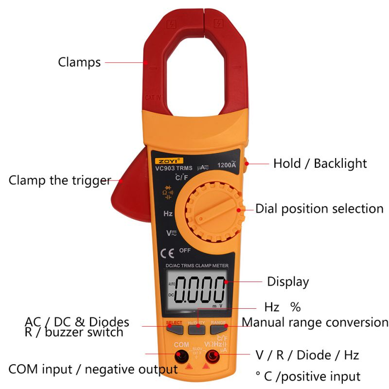 VC903 6000 Counts AC/DC Digital Multimeter Amper Clamp Meter Current Clamp Pincers Voltage Capacitor Resistance Tester auto digital clamp meter mastech ms2108a pincers ac dc current voltage capacitor resistance tester aimometer multimeter amper