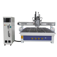 Wood carving machine 4 axis cnc for stairs AKM2030 3 three heads tool changing CNC Router Machine