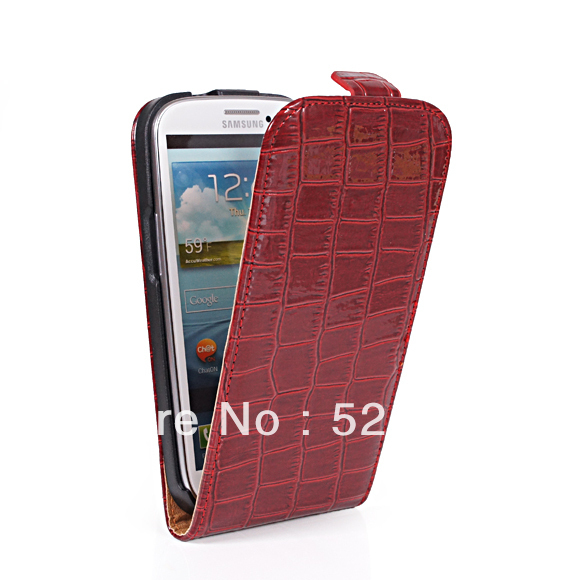 HIGH QUALITY  Free Shipping High quality Crocodile holster leather case for Sumsung Galaxy s3 i9300  mobile phone case