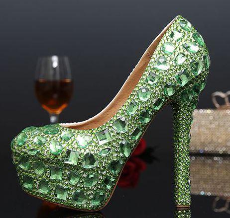 ФОТО 14cm extra high heels platforms wedding pumps shoes TG340 pink green luxury handmade female ladies sweet parties pumps