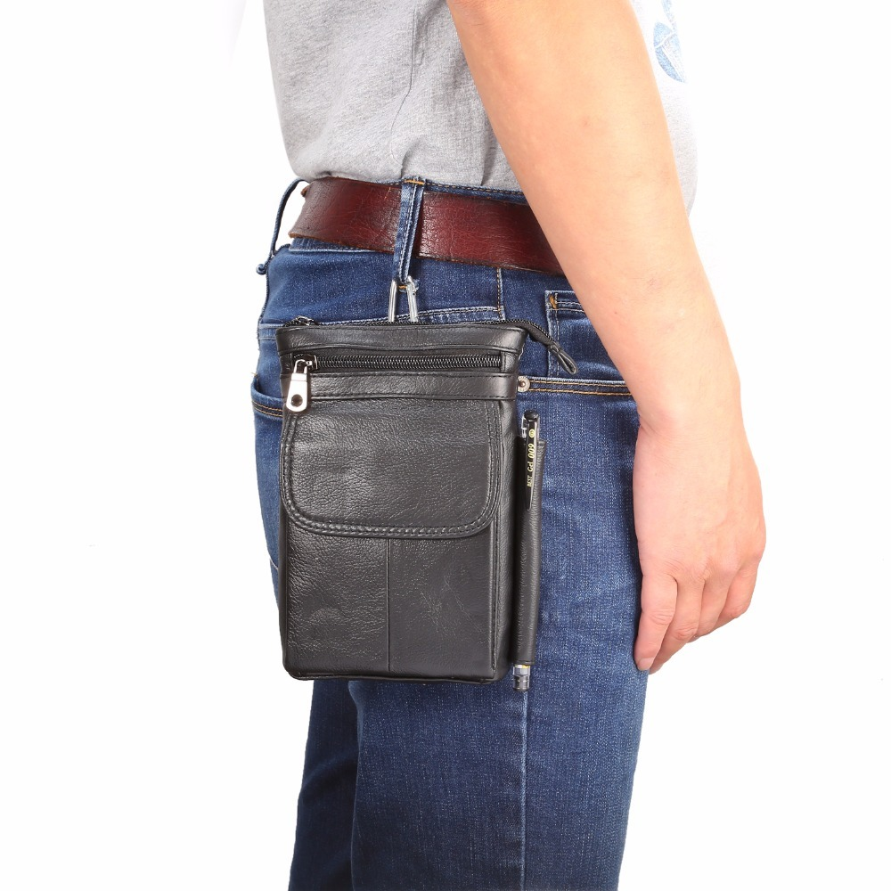 Casual Waist Diagonal Double PU Leather Belt Pouch Phone Case For Samsung iPhone Cell Phone