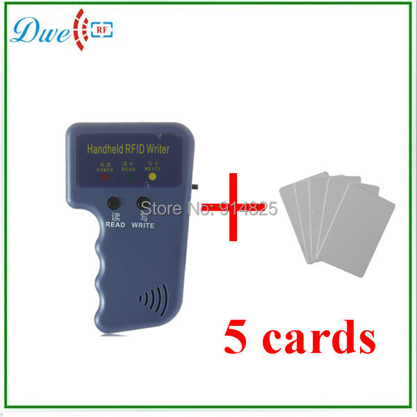 DWE CC RF Free shipping wholesale RFID Handheld 125KHz EM4100 ID Card Copier Writer Duplicator with 5 Writable cards retail wholesale brand new south handheld gps battery btnl l7406w for south s730 handheld data collector free post shipping