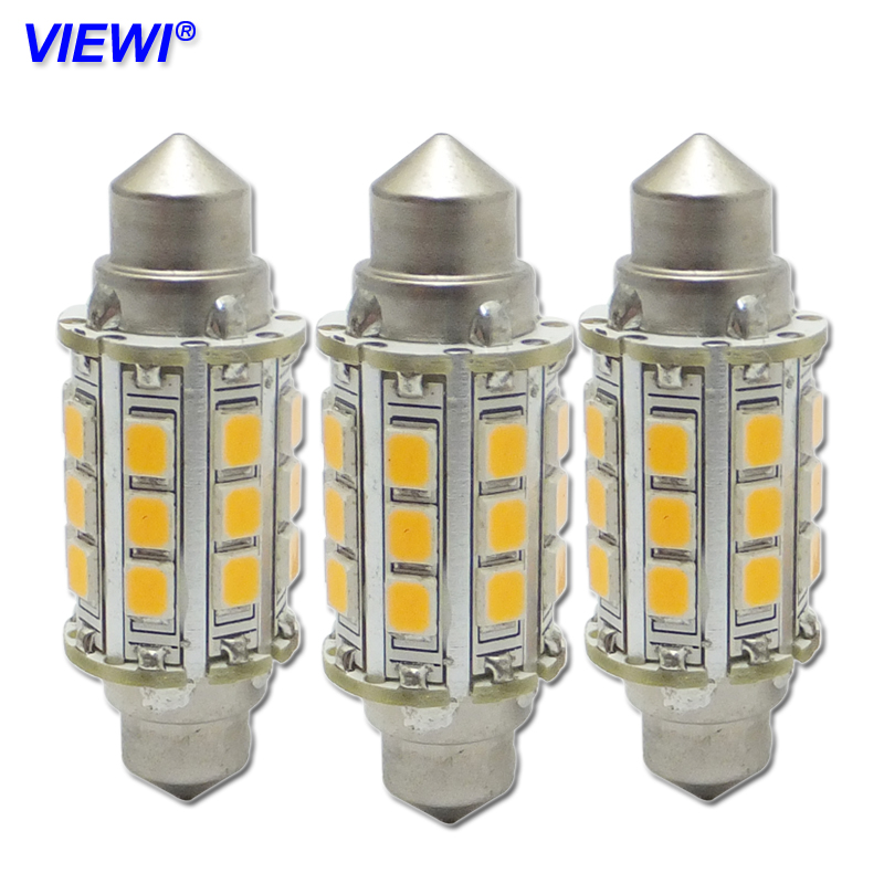 Viewi ampoule 10x Auto led lights c5w 12v 24v 3W car Festoon bulbs 36mm 39mm 42mm 2835 smd Interior Dome Lamp Reading lighting