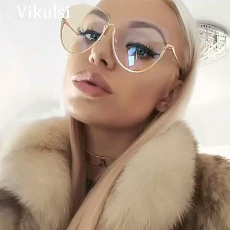 2017 Neue Mode Marke Clear Brille Frauen Optik Brillen Gold Halb Rahmen Transparent Objektiv Gläser Shades Rosa Sonnenbrille HeißEr Verkauf 50-70% Rabatt