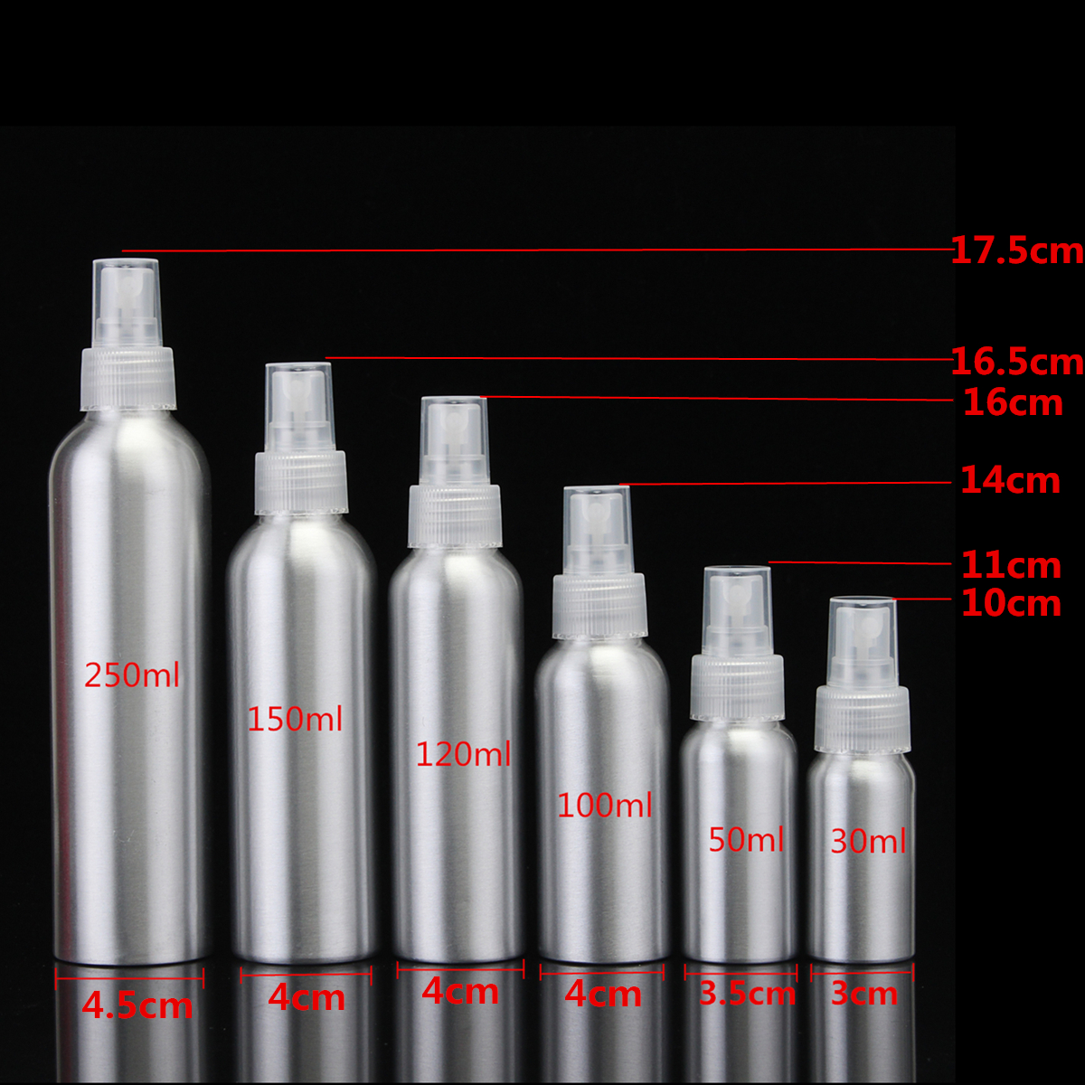30/50/100/120/150/<font><b>250ml</b></font> Aluminium <font><b>Spray</b></font> <font><b>Bottle</b></font> 100ml Atomizer Empty <font><b>Bottles</b></font> Fine Mist Pump Storage Cosmetic Packaging Container image