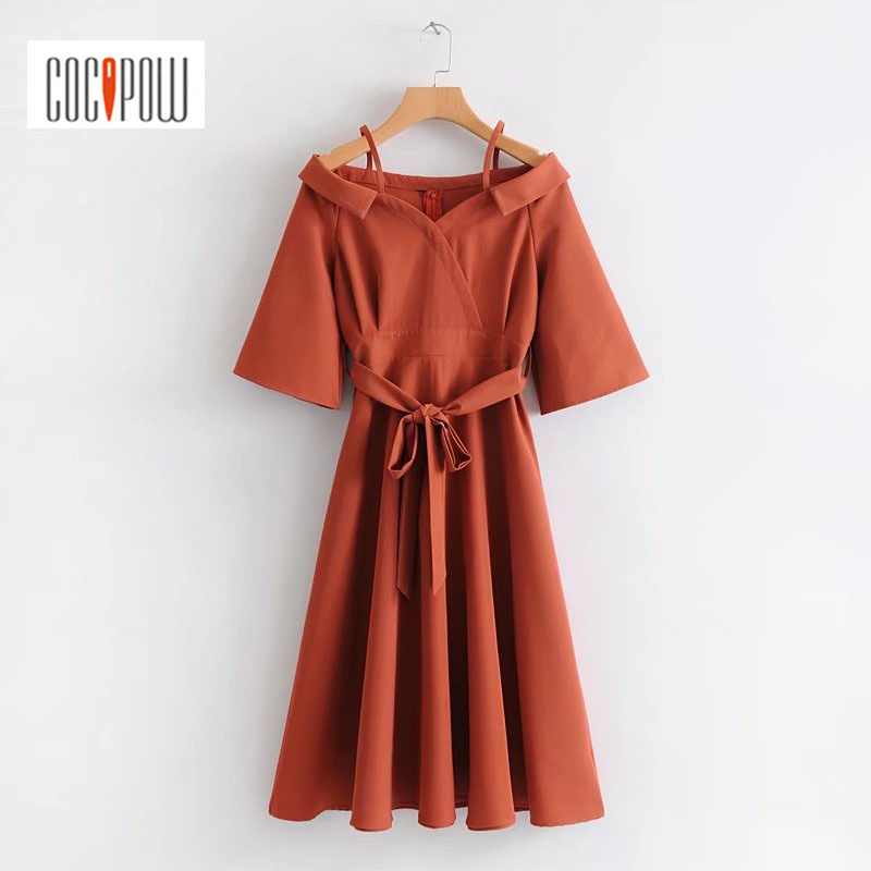 Wome Vintage Solid Dress Shoulder-straps Turn-down Collar Sashes Dress Short Sleeves Mid-calf Regular Dresses Causal Wear Tops