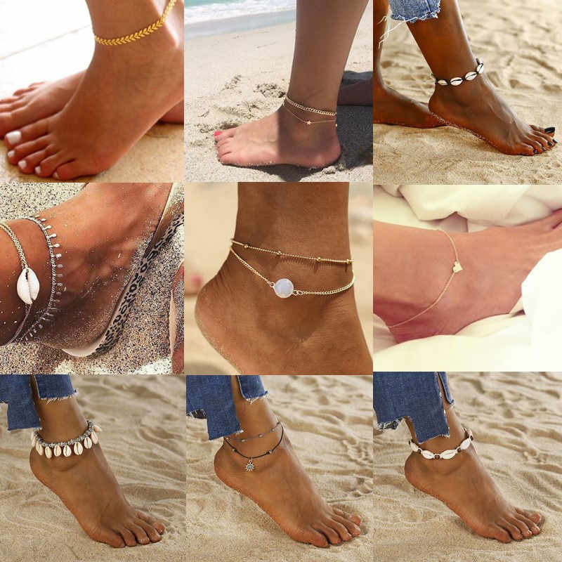 Bohemian Sea Shell Natural Anklets For Women Bracelet Anklet Gold Shell Pearl Chain Silver Leg Ankle Star Beach Jewelry Wholesal