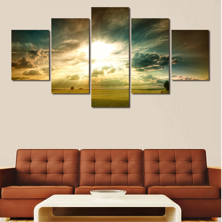 Paintings For Walls Of Living Room Aliexpresscom Buy 5 Pictures Strange Clouds The Sky Art