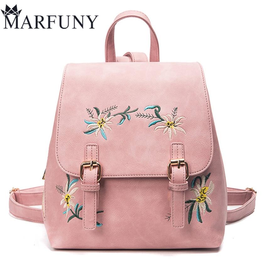 Fashion Flowers Backpacks For Teenage Girls Hot Embroidery Women Bag Cute  Back Pack High Quality Pu Leather Backpack Mochila