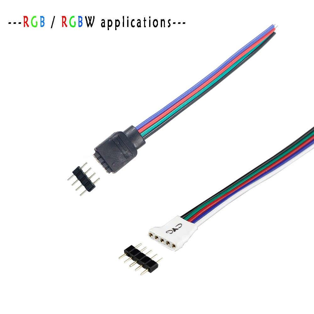 10 шт. 4 Pin RGB/5 pin коннектор RGBW адаптер штырь иглы мужской тип двойной, для RGB/RGBW 5050 3528 Светодиодные полосы света светодиодный аксессуары