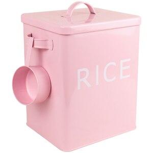 Image 5 - Boîte de rangement pour cuisine salle de bain, conteneur de riz, Grain 10l revêtement métal Zinc boîtes de rangement de poudre à pain avec cuillère