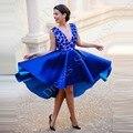 Full Mergulhando Sexy Azul Royal Vestidos de Baile Na Altura Do Joelho Aberto Para Trás Laço de Cetim Sexy Mulheres Robe De Cocktail Formal Do Partido do vintage vestidos