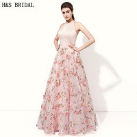 H S Bridal A Line Pink Formal Evening Gowns Dresses Backless Printed Fabric With 3D Flowers