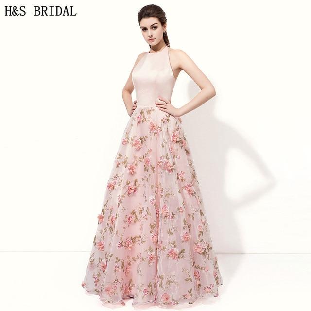 H & S nupcial una línea rosa noche formal vestidos backless impreso ...