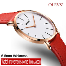 OLEVS fashion top luxury brand couple watch ultra-thin waterproof Leather Quartz watch business original sports watch