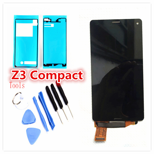 Original del 100% para sony z3mini z3 compact d5833 pantalla lcd con pantalla táctil digitalizador asamblea negro blanco envío libre del color