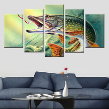 5 panel frame printing fishing pike fish painting poster canvas living room bedroom decoration HD
