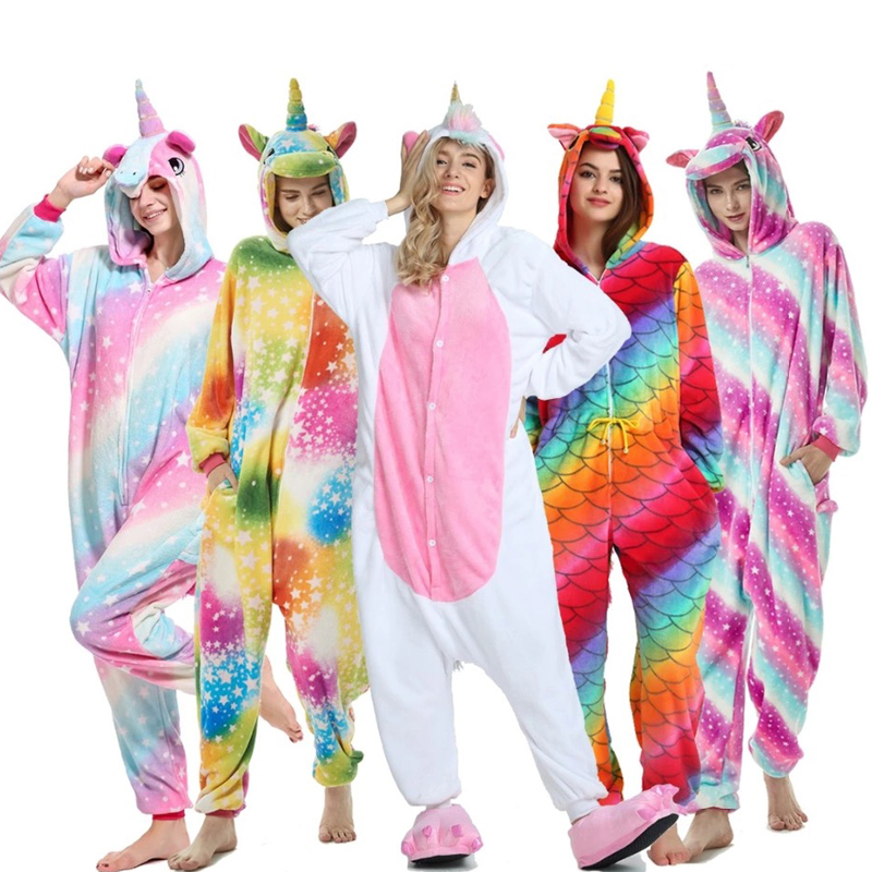 Unicorn Kigurumi Onesie Adult Pijama Women Animal   Pajamas     Sets   Panda Cosplay Sleepwear Unicornio Pyjamas Unisex Winter overalls