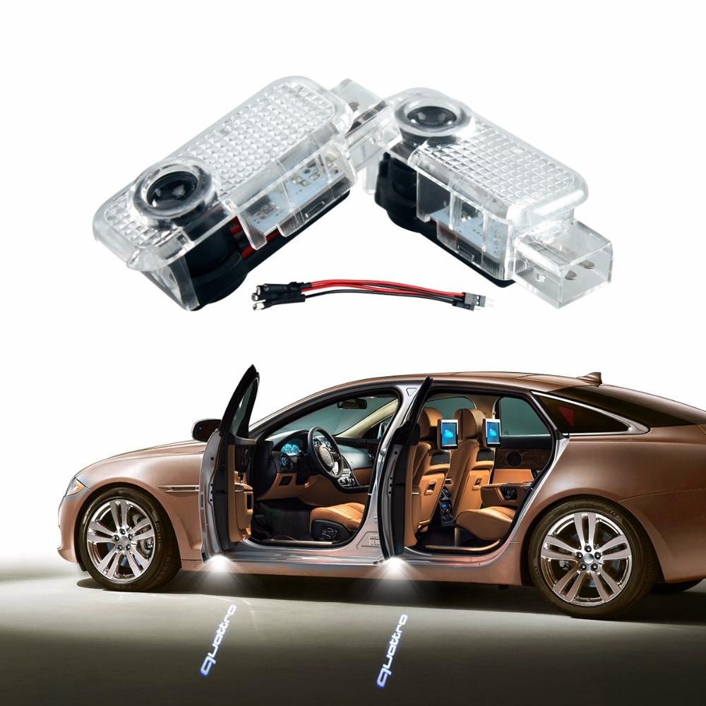 2 x LED Car Door Light Ghost Shadow Light logo for AUDI A4 B6 TT A5 B7 A3 B5 B8 A6 C5 C6 Q5 Q7 A4L 80 A1 A7 R8 A6L Q3 A8 Quattro