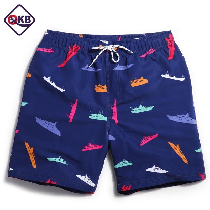 QIKERBONG Men's Beach Shorts Board Boxer Trunks Shorts Quick Drying Boardshorts Fashion Men Shorts Without Lining