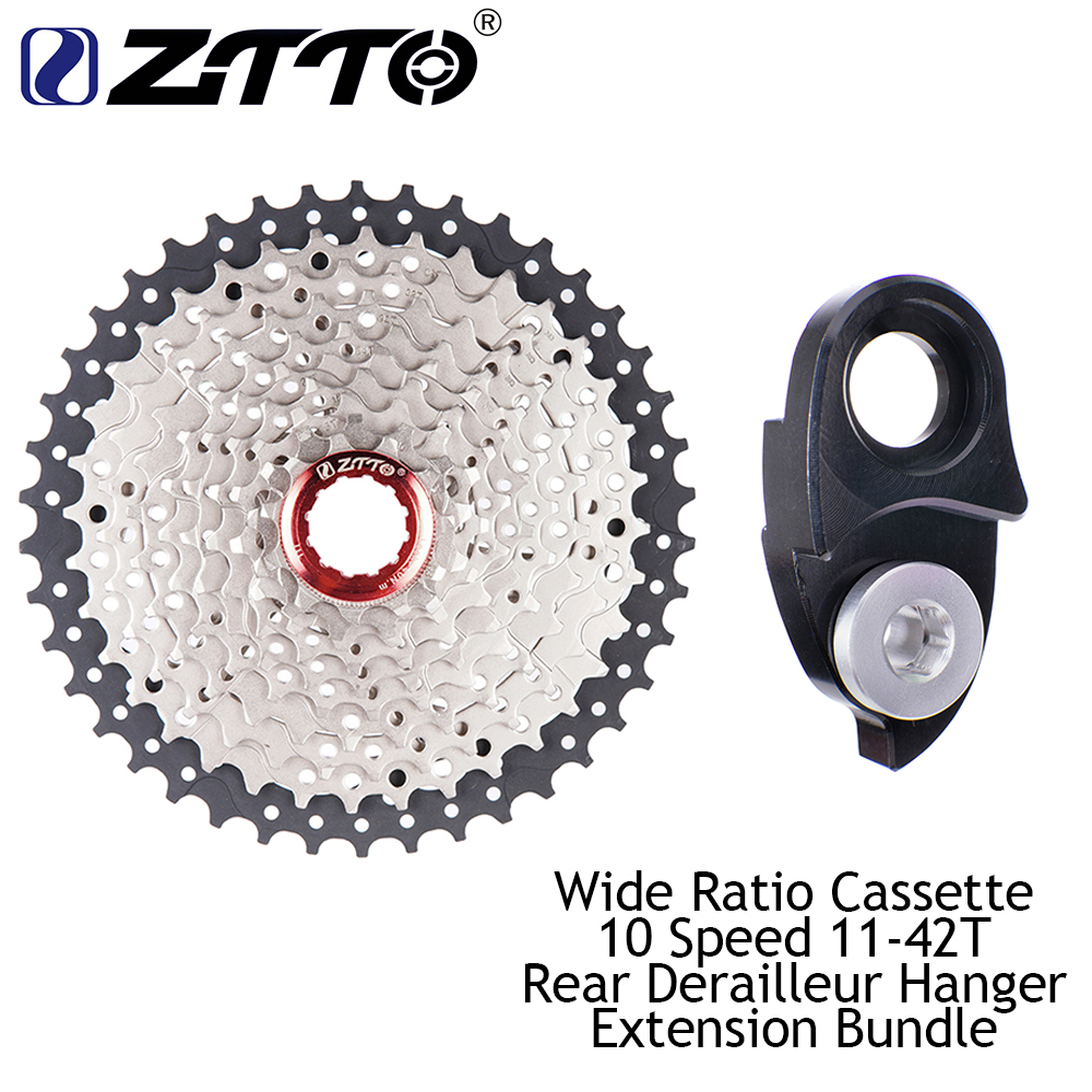 ZTTO 11-42 t 10 Velocità 10 s di Larghezza Rapporto MTB Parti di Biciclette Mountain Bike Cassette Pignoni e Posteriore gancio di Estensione Fascio