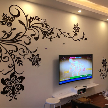наклейки на стены   Красивый цветок лоза дизайн акриловые наклейки DIY наклейки для гостиной ТВ фон украшения на стену