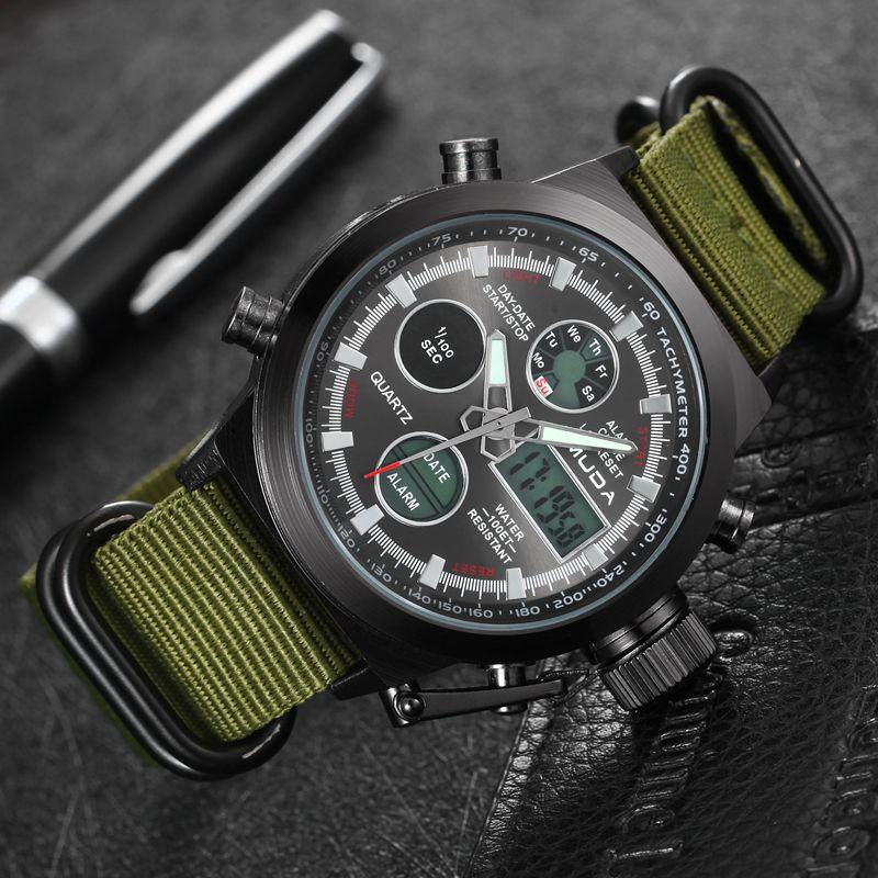 Prix pour Hommes de Mode Militaire Montres Sport En Plein Air Montre Numérique Bracelet En Cuir Hommes Quartz-montre Mâle Montre relogio masculino
