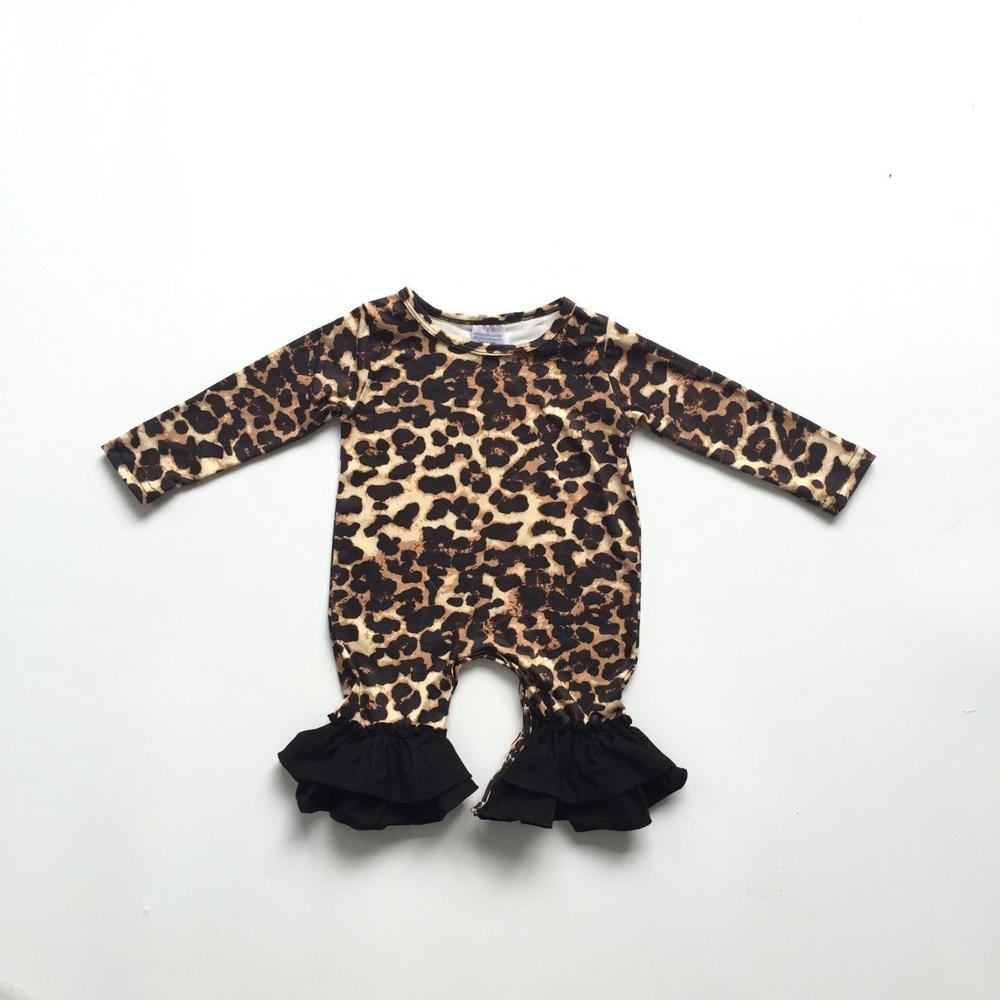 baby girls fall infant toddler baby kids leopard print   romper   kids ruffled   romper