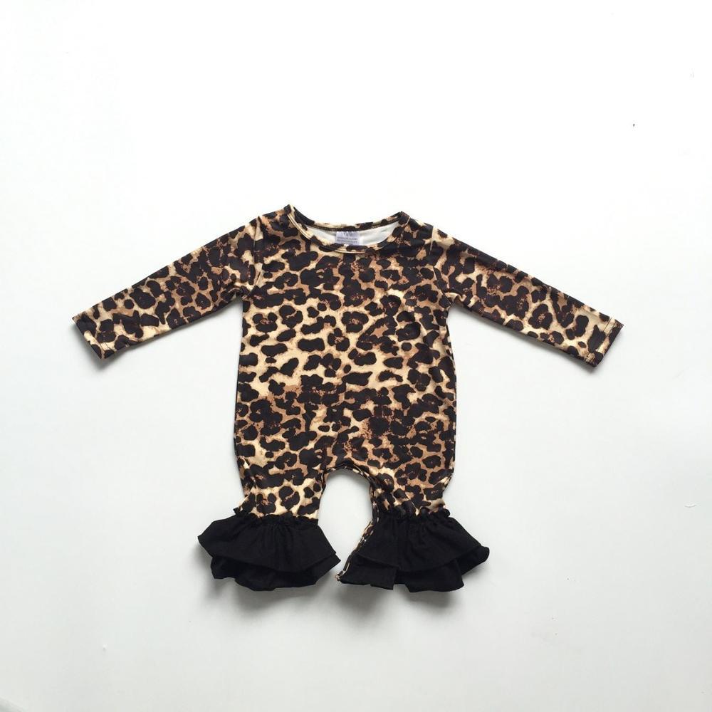 baby girls fall infant toddler baby kids leopard print   romper   kids ruffled   romper