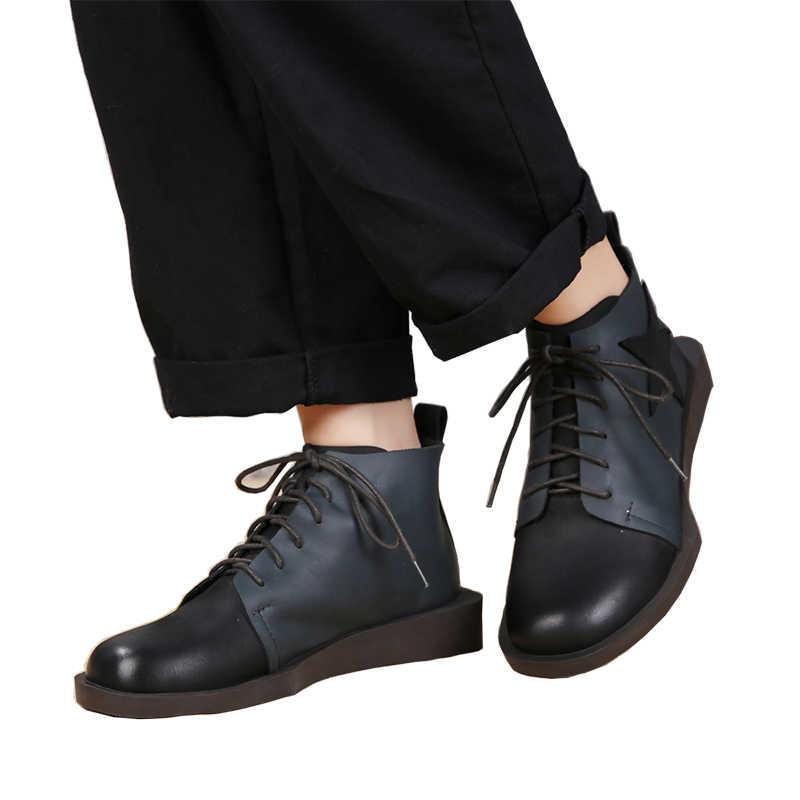 2019 VALLU Sonbahar kadın ayakkabısı yarım çizmeler Hakiki Deri Yuvarlak Ayak Parmağı Dantel Up Karışık Renk Bayan Ayakkabı düz çizmeler